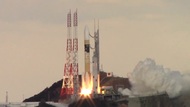 video footage taken at the tanegashima space center in kagoshima prefecture on jan 24 shows the launch of an h2a rocket that successfully put the... - launch event stock videos & royalty-free footage