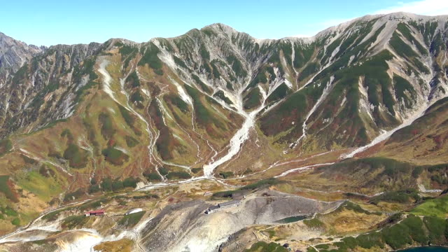 video footage taken from a helicopter shows the spectacular autumn foliage along the tateyama kurobe alpine route a winding road in toyama prefecture... - toyama prefecture stock videos and b-roll footage