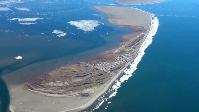 Video footage taken from an Asahi Shimbun airplane on June 15 2017 shows Kivalina and Barrow two coastal communities in remote northern Alaska...