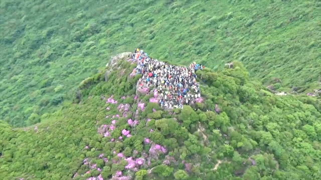 video footage taken from the air on june 3 shows hikers who have climbed up to the peak of mount taisenzan located in taketa oita prefecture to enjoy... - oita city stock videos & royalty-free footage