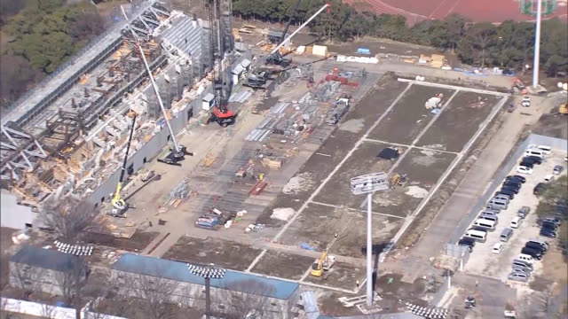 video footage taken from the air on march 12, exactly 500 days before the beginning of the 2020 olympic games in tokyo, shows work in progress on the... - stabilimento sportivo video stock e b–roll