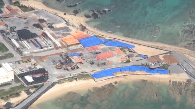 Video footage taken from the air on Nov1 shows preparatory work to reclaim land for a US military base resuming in the Henoko district of Nago...