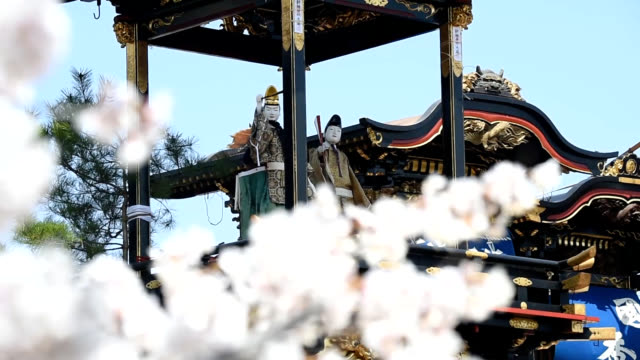 video footage taken in inuyama aichi prefecture shows some of the 13 towering lavishly decorated floats equipped with mechanical dolls paraded... - festwagen stock-videos und b-roll-filmmaterial