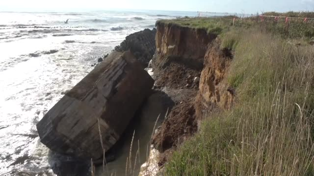 vidéos et rushes de video footage taken in taikicho in hokkaido shows a concrete dug-in guard post built along a seaside cliff near the end of world war ii that was... - falaise