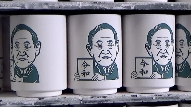 video footage taken in toki, gifu prefecture on sept. 14 shows novelty mugs bearing caricatures of japan's prime ministers already including the face... - マグカップ点の映像素材/bロール
