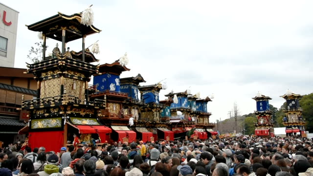 Video footage taken on April 1 Japan in Inuyama Aichi Prefecture shows 13 towering parade floats bearing musicians and moving puppets gathering for...