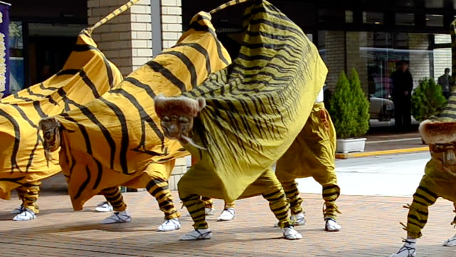 video footage taken on april 12 japanshows a troupe of dancers who traveled from kami miyagi prefecture to the capital of yamagata prefecture to... - yamagata prefecture stock videos & royalty-free footage