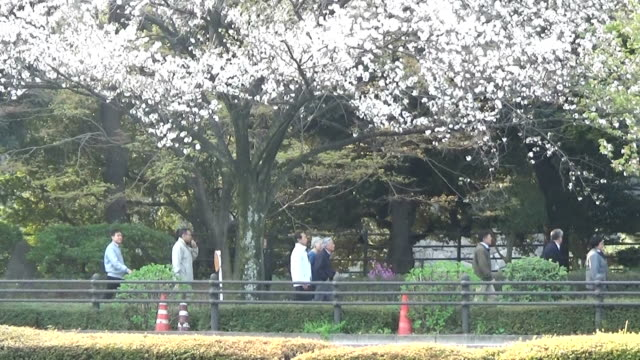 video footage taken on april 2 around the imperial palace in tokyo shows emperor akihito and empress michiko taking an unexpected stroll along the... - moat stock videos and b-roll footage