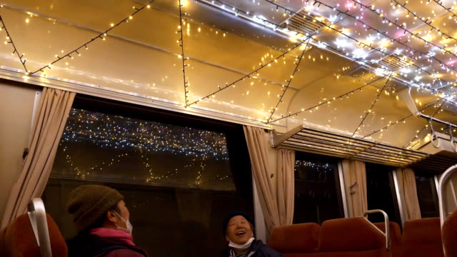 video footage taken on dec 15 shows the flashing illuminated interior of a specially decorated train running along the asato line operated by the asa... - tokushima prefecture stock videos & royalty-free footage
