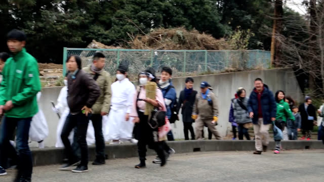 "video footage taken on dec 16 in kasama ibaraki prefecture shows a 13 men wearing white robes and ""eboshi"" caps keeping their silence as they are... - worshipper stock videos & royalty-free footage"