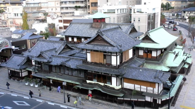video footage taken on dec. 5 in matsuyama. ehime prefecture, shows the historic main building of the dogo onsen hot spring bathhouse being given a... - bathhouse stock videos & royalty-free footage