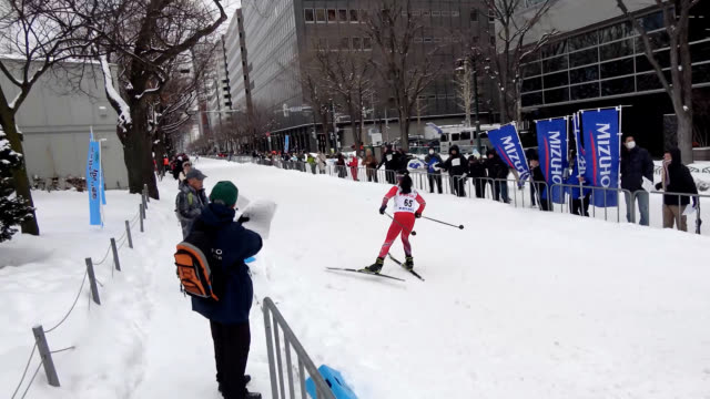 video footage taken on feb 16 in sapporo shows elementary and junior high students on cross country skis as well as paraskiers racing on a... - snow festival stock videos & royalty-free footage