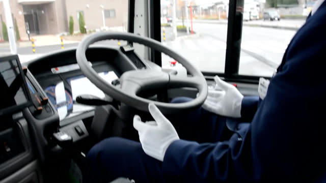 video footage taken on feb 26 shows a driver at the wheel of a converted bus currently being trialed in kawaguchi saitama prefecture for possible use... - saitama prefecture stock videos & royalty-free footage