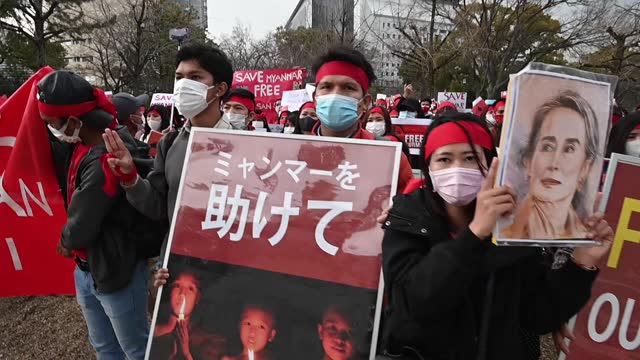 video footage taken on feb. 7 shows scenes from demonstrations staged by myanmar residents and their supporters in japan against the military junta... - nationals park stock videos & royalty-free footage
