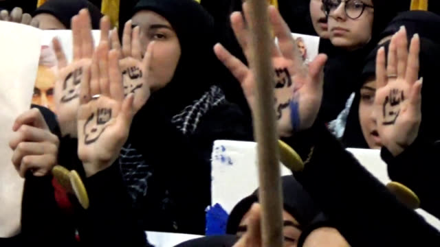 video footage taken on jan 5 in beirut shows supporters of lebanon's shiite militant group hezbollah mourning the death of iranian revolutionary... - 将校点の映像素材/bロール