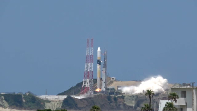 video footage taken on june 12 shows the successful launch of rocket h2a no39 from tanegashima space center in kagoshima prefecture as crowds look on... - launch event stock videos & royalty-free footage