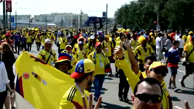 Video footage taken on June 19 in Saransk Russia before and after the soccer World Cup match played between Japan and Columbia shows the friendly...