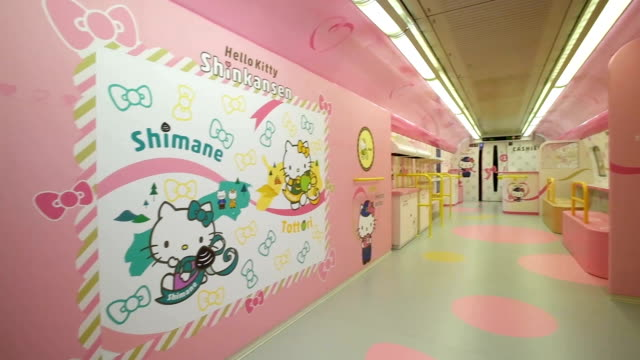 video footage taken on june 25 shows the interior and exterior of the new hello kittythemed shinkansen bullet train slated to start carrying fans of... - hello kitty stock videos and b-roll footage