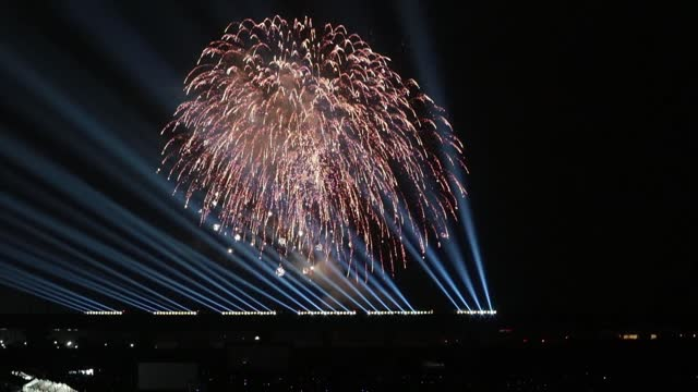 """video footage taken on march 14 shows an illumination show involving fireworks exploding in the air above a passing """"shooting star"""" of a shinkansen... - kyushu railway stock videos & royalty-free footage"""