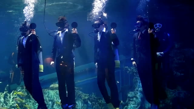Video footage taken on March 31 in Toba Mie Prefecture show workers newly hired by Toba Aquarium being given an welcoming ceremony inside one of the...