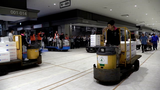 Video footage taken on May 16 at Toyosu market shows workers driving forklifts turret delivery trucks and pulling carts during a rehearsal of how...