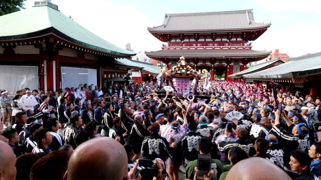 video footage taken on may 20 in the asakusa district of tokyo shows the final day of the famed sanja matsuri festival a sure sign of summer's... - shitamachi stock videos and b-roll footage