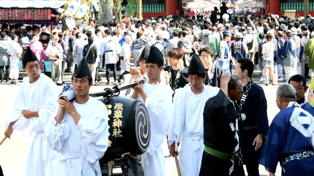video footage taken on may 21 at the grounds of sensoji temple in tokyo's asakusa district shows the huge jostling crowd gathered for the third day... - shitamachi stock videos and b-roll footage