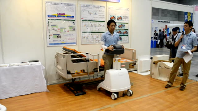 Video footage taken on Nov 16 at an international exhibition of caregiving equipment held in KitaKyushu shows a system developed to assist people...