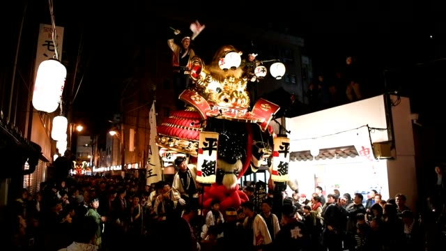 "video footage taken on nov 2 the first day of the karatsu kunchi festival held in karatsu saga prefecture shows teams of participants called ""hikiko""... - festwagen stock-videos und b-roll-filmmaterial"