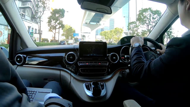 video footage taken on nov 7 shows an onboard navigation system developed for drivers by us information technology firm cerence inc being... - 方向点の映像素材/bロール