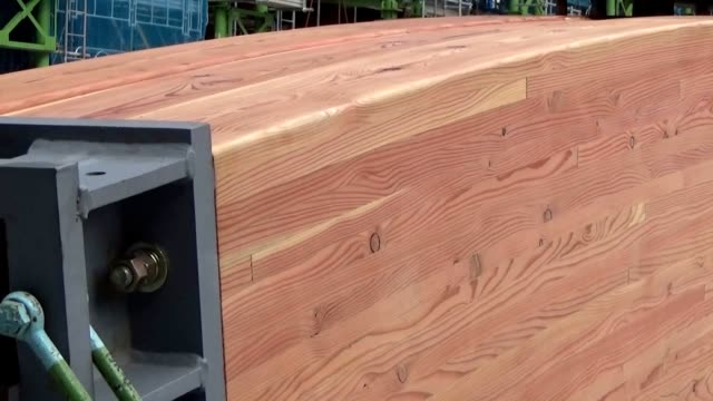 video footage taken on nov7 in the ariake district of tokyo's koto ward shows a wooden section of roof fitted into place atop a new gymnastics center... - s shape stock videos & royalty-free footage