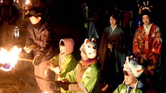 """video footage taken on november12japan in murayama yamagata prefecture shows an unusual """"mujina no mukasari """" badger wedding ritual being staged... - yamagata prefecture stock videos & royalty-free footage"""