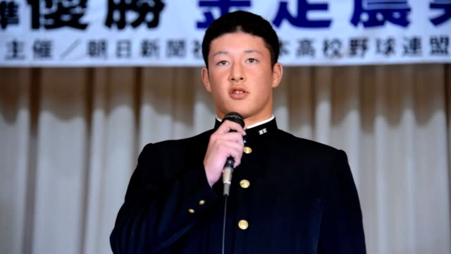 video footage taken on oct 10 in akita shows kosei yoshida of kanaashi nogyo high school in akita prefecture whose pitching dominance drew huge... - basebollpitcher bildbanksvideor och videomaterial från bakom kulisserna