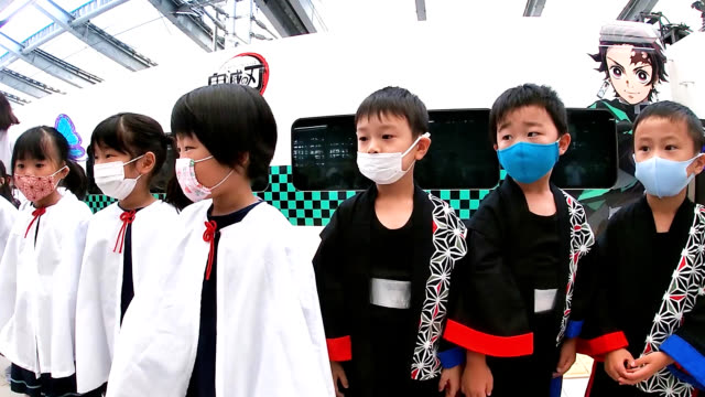 video footage taken on sept. 29 at nagasaki station shows local nursery school pupils sending off an express train wrap-painted with characters from... - kyushu railway stock videos & royalty-free footage