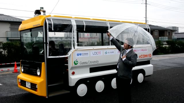 video footage taken on sept 29 in saitama shows an experimental selfdriving bus being put through a demonstration near urawamisono station in the... - autonomous technology stock videos & royalty-free footage