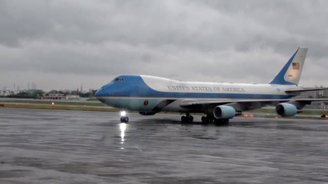 video footage taken on the evening of june 27 shows air force one bearing us president donald trump arriving at itami international airport one day... - us president stock videos & royalty-free footage
