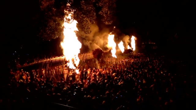 stockvideo's en b-roll-footage met video footage taken on the night of jan. 7 at daizenji tamataregu shrine in kurume, fukuoka prefecture shows participants in the oniyo matsuri ritual... - 12 13 years