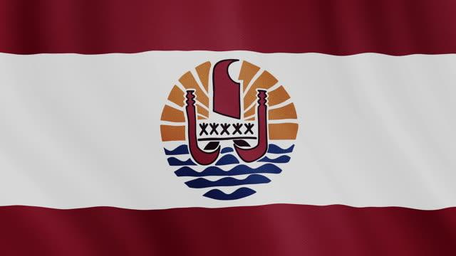 4 k video : französisch-polynesien winken flagge - französisch polynesien stock-videos und b-roll-filmmaterial
