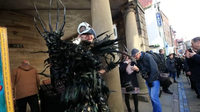 video from whitby goth weekend in whitby yorkshire as hundreds of goths descend on the seaside town where bram stoker found inspiration for 'dracula'... - vlad tepes stock videos & royalty-free footage