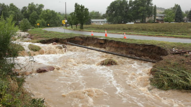 hd video gas line flooding creek boulder colorado - boulder stock videos & royalty-free footage