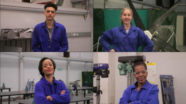 vidéos et rushes de vidéo headshot des étudiants en génie - apprenti