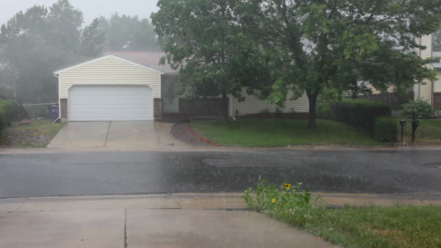 HD video heavy rain over Colorado homes