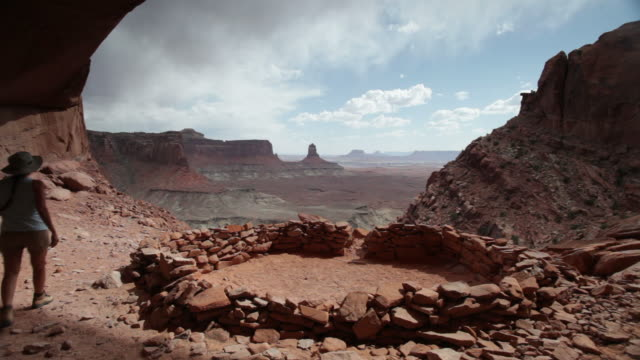 HD video hiker overlooks Canyonlands National Park Utah