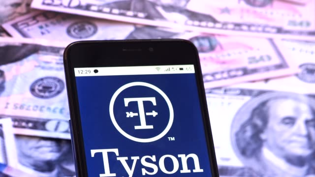 video illustration the logo of tyson foods is displayed on a smartphone rotating at different denominations dollar bills video taken in kiev,... - financial accessory stock videos & royalty-free footage