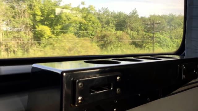 video in the fast train - interno di treno video stock e b–roll
