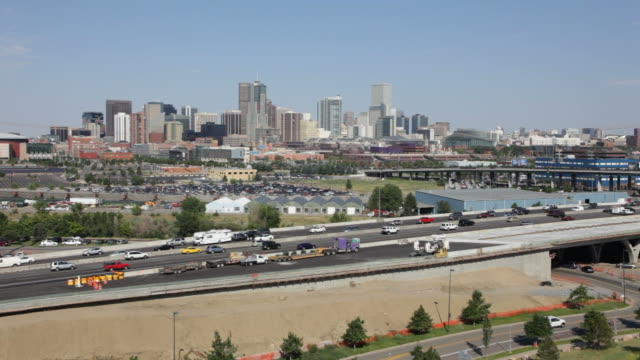HD Video Interstate and Downtown Denver Skyline Colorado