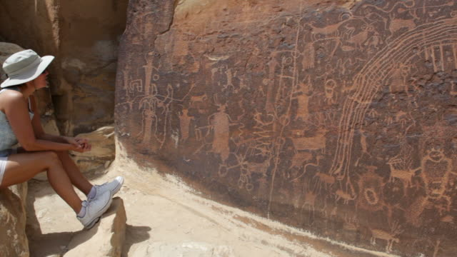hd video large rock art panel rochester petroglyphs utah - san rafael swell stock videos and b-roll footage
