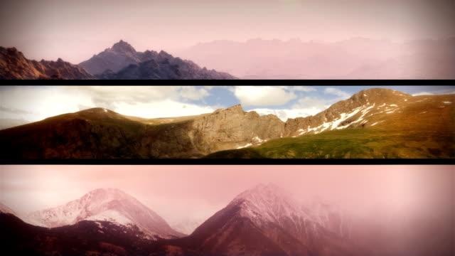 vídeos de stock e filmes b-roll de a video montage depicts clouds swirling around mountain peaks. - filme colagem