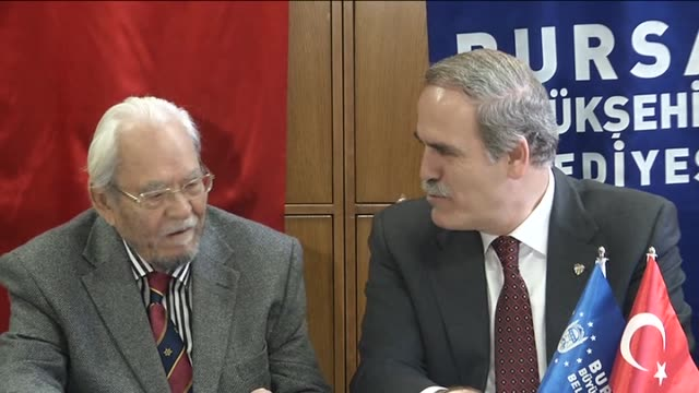 A video montage shows that Famous Turkish historian Halil Inalcik attend a press conference in Bursa Turkey on February 16 2013 Worldrenowned Turkish...