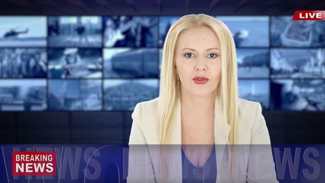 vídeos de stock, filmes e b-roll de vídeo 4k: apresentador lendo as últimas notícias - apresentador